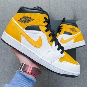 🤍💛Nike Air Jordan 1 Retro Mid white yellow shoes